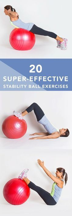 Stability balls (also called exercise balls balance balls Swiss balls or fitness balls) are more than just fun to sit and bounce ontheyre a great way to improve strength cardio endurance and balance fitness motivation Fitness Workouts, Training Fitness, Fitness Diet, At Home Workouts, Fitness Motivation, Health Fitness, Ball Workouts, Workout Ball, Swimming Workouts