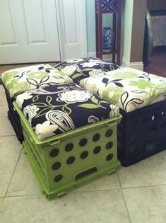 Crate seat & storage: crate, plywood, cushion, fabric, staple gun.