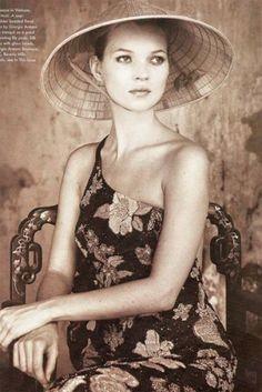 Kate Moss wearing a Non La 90s Vintage Fashion Vogue, 1996 Vietnam