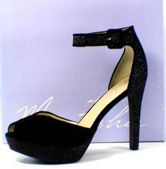 Marc Fisher Women's Twenty3 Black Leather Multi-Texture Platform Heels Size 9.5