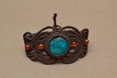 Earth Fire Water Macrame Bracelet/ Turquoise Gemstone/ Agate/ Micromacrame. $34.00, via Etsy.