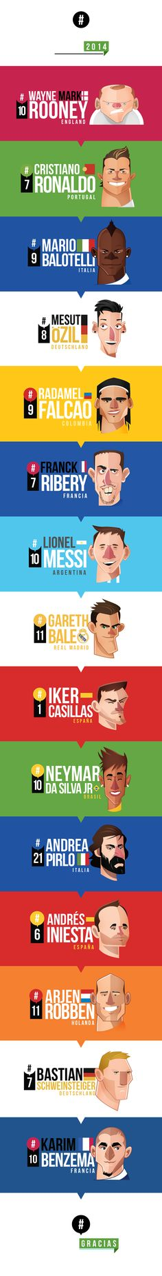 Some din't make it to the WC14 like Falcao MUNDIALISTAS by Edgar Rozo, via Behance
