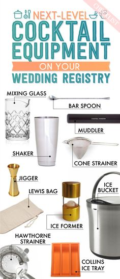 Whether you're beginner mixer or a regular bartender, you're going to need some cocktail equipment on your wedding registry. This visual checklist from Buzzfeed has everything you'll need. Cheers!