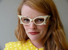 Rare Vintage French Designer L Evrard Pearlescent Jeweled Cat Eye Frames