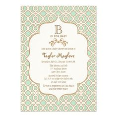 Mint Green Moroccan Gender Neutral Baby Shower Invite