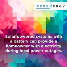 Interesting Fact: Solar powered systems with a battery can provide a homeowner with electricity during local power outages. Contact Regenergy today for the perfect solution for you. Renewable Energy, Solar Energy, Solar Power, Energy Storage, Power Outage, Energy Efficiency, Fun Facts, Canning, Instagram