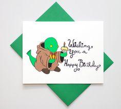 Gamer Birthday Card - Final Fantasy - Geeky Card - Tonberry - Wishing You A Happy Birthday - Greeting Card