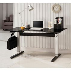 Coaster Adjustable Height Desk for Seated or Standing Use in Black