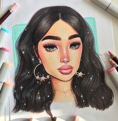 learning how to draw Black Love Art, Black Girl Art, Art Girl, Girly Drawings, Art Drawings Sketches, Marker Art, Dope Art, Copics, Cartoon Art