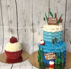 themed birthday party, in san diego, fishing used lot, fish… Boys First Birthday Party Ideas, Baby Boy First Birthday, First Birthday Cakes, Boy Birthday Parties, 8th Birthday, Fish Cake Birthday, Fishing Birthday Cakes, Fishing Theme Cake, Fly Fishing