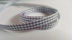 3m Ribbon - Gingham Check - 10mm - Grey