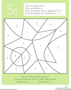 Kindergarten The Alphabet Color by Number Worksheets: Color by Letter: Capital and Lowercase S Letter S Crafts, Letter S Activities, Printable Activities For Kids, Preschool Printables, Free Kindergarten Worksheets, Worksheets For Kids, Alphabet Worksheets, Number Worksheets, Writing Worksheets