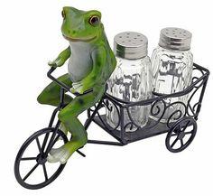 Frog Kitchen Deor   Details About FUN FROG Spice Cart Kitchen Decor SALT  PEPPER SHAKERS .