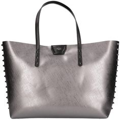 Gum by Gianni Chiarini Camuri Shopper in Canna Di Fucile (160 CAD) ❤ liked on Polyvore featuring bags, handbags, tote bags, iron, shopping tote bags, white tote, shopper tote handbags, shopper handbag and white tote bag