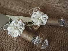 Rustic+Wedding+Cake+Knife+Burlap+And+Lace+Cutting+Serving+