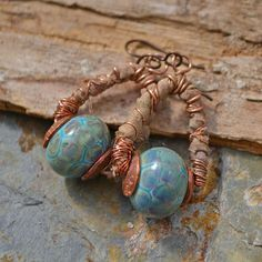 Turquoise Tortoise Lampwork and Sari Earrings by KristiBowmanDesign.Etsy