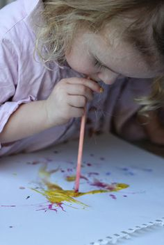 Straw blow painting....love this idea.  A beautiful #oralmotor exercise.  Visit pinterest.com/arktherapeutic for more #oralmotor ideas
