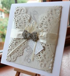 Beautiful, delicate hand made card. For wedding or anniversary