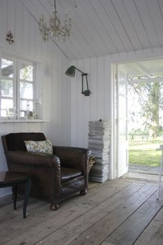 love the timber floor, the white timber walls, the chandeleir, the big comfy chair, perfect for reading a book - idea for farm to be for sure! House, Home, Timber Walls, House Styles, New Homes, Big Comfy Chair, House Interior, Home Deco, Comfy Chairs
