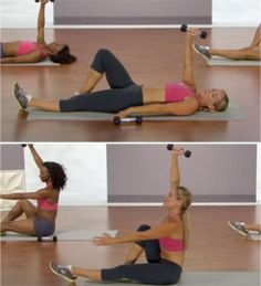 I like this with both arms... don't weight if you can't do it without a 'jump' or 'pop' in your form... use only your stomach muscles...