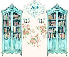 Тhe Bookcases. Illustration for wedding panels by Anna Ulyashina - illustrator, via Behance