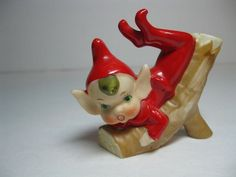 Vintage pixie elf Christmas figurine gnome on log Christmas Past, Christmas Items, Christmas Angels, Vintage Christmas, Christmas Things, Fairy Figurines, Christmas Figurines, Glass Figurines, Vintage Pottery