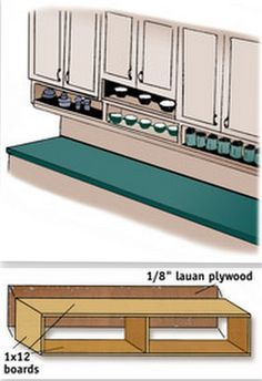 DIY Storage Solutions to Keep the Kitchen Organized {Saturday Inspiration & Ideas diy under cabinet spice storage kitchen Under Cabinet Shelf, Kitchen Cabinet Organization, Diy Kitchen Cabinets, Kitchen Shelves, Storage Cabinets, Storage Shelves, Kitchen Ideas, Open Shelves, Cabinet Ideas