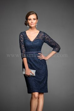 """Jasmine Black Label Mothers Dresses, Fall 2014. Lace/Malay Satin Knee length (25"""") V-neckline gown with 3/4 sleeves. Also available in floor length for M160065A. Shown in Navy."""