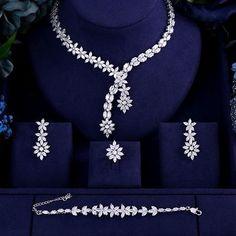 Luxury AAA cubic zirconia heavy necklace ,drop earrings ,bracelet and ring dubai full wedding bridal jewelry set for woman Pearl Bridal Jewelry Sets, Wedding Jewelry Sets, Jewelry Party, Bridal Necklace, Bridal Jewellery, Jewellery Box, Stylish Jewelry, Fine Jewelry, Women Jewelry