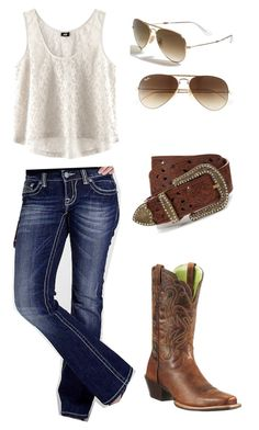 """""""Ariats"""" by baileydelozier ❤ liked on Polyvore featuring H&M, Miss Me, Ariat and Ray-Ban"""