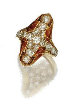 Autumn Ring. Rene Lalique (1860 -1945) Circa 1900. Diamonds, gold, enamel. 6.5cm (2.5 inches)