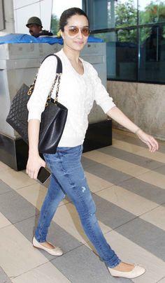 Shraddha Kapoor spotted at Mumbai airport. #Bollywood #Fashion #Style #Beauty