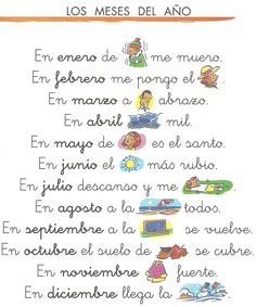 Meses - Pictogramas Spanish Vocabulary, Spanish Language Learning, Teaching Spanish, Preschool Spanish, Spanish Activities, Bilingual Classroom, Spanish Classroom, Spanish Songs, Spanish Lessons