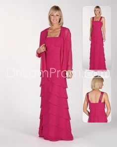 Gorgeous Tiered A-Line Square Neckline Floor-Length Mother of the Bride Dresses