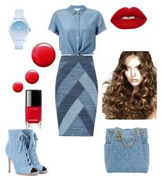 """Jean Day at the Office"" by vroperwife on Polyvore featuring Miss Selfridge, BCBGMAXAZRIA, Gianvito Rossi, Chanel, Topshop, Lime Crime and Lacoste"