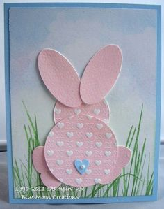 PK 2 PRETTY TULIP RABBIT TOPPER EMBELLISHMENT FOR CARDS OR CRAFTS SET 1