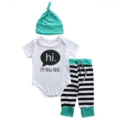I'm New Here Stripes Set, Newborn baby coming home outfit, baby shower gift ideas, going home from hospital outfit, take home outfit, baby girl baby boy clothing sets