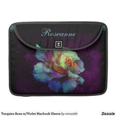Turquoise Rose w/Violet Macbook Sleeve MacBook Pro Sleeves