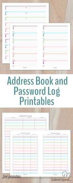 A great addition to a planner or home management binder - these address book and password log printables come in two sizes and colourful without being too distracting, organization binder Colourful Address Book and Password Log Printables