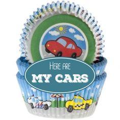 Muffinförmchen mit grandiosen Auto-Motiven. Perfekt für den Kindergeburtstag!