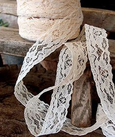 "AK-Trading 1"" wide x 25 yards Ivory Floral Pattern Lace R..."