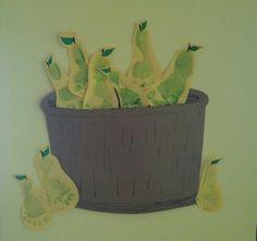 Baby daycare craft idea- pear footprints in bushel basket