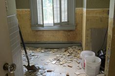 Hundreds of tiles were removed from this second floor bathroom in the original house. #historichomerehab See more photos: wccf.net