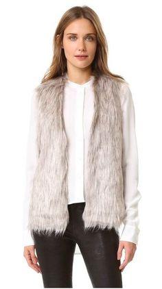 Rosette Faux Fur Vest