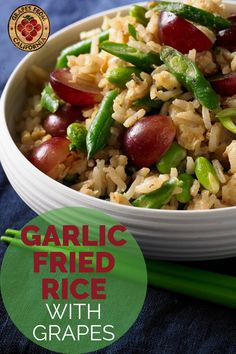This simple fried rice recipe, with egg, vegetables, garlic, and grapes from California, is the best homemade stir-fry side dish that is easy to make.  #recipe #easy #recipeeasy #withegg #vegetable #howtomake #veggie #homemade #stir #best #garlic #simple #garlicfriedrice #friedrice #friedricerecipe #rice #ricerecipe #sidedish #sidedishes #sidedishrecipe Grape Recipes, Salad Recipes, Side Dish Recipes, Side Dishes, Homemade Stir Fry, Garlic Fried Rice, California Food, Entrees, Fries