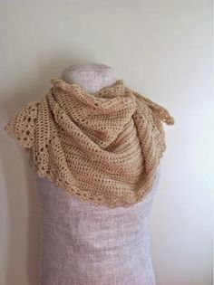 This shawl has a soft gold shimmer, catching the light every way you turn. You will be sure to receive compliments from this half-hexagonal . Crochet Shawls And Wraps, Crochet Scarves, Crochet Clothes, Crochet Hooks, Knit Shawls, Crochet Dresses, All Free Crochet, Easy Crochet, Crochet Geek