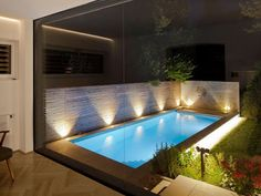 Sleek Glass and Wood House Extension With Matching Swimming Pool Small Swimming Pools, Small Pools, Swimming Pools Backyard, Swimming Pool Designs, Indoor Pools, Backyard Pool Landscaping, Small Backyard Patio, Backyard Patio Designs, Landscaping Ideas