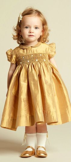 ANNAFIE Baby Girls Hand-Smocked Gold Silk Party Dress from raw silk.