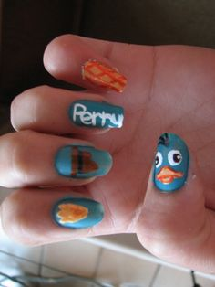 Perry the Platypus Nail Art