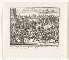 Anonymous   Ontvangst van prins Willem III te London, 1688, Anonymous, Cornelis Danckerts (II), unknown, 1711   Feestelijk ontvangst van prins Willem III in London op 28 december 1688. Onderdeel van een serie over de lotgevallen van het Engelse koningshuis van Stuart van 1558-1711, waarvan hier zijn opgenomen zestien prenten over de strijd tussen Jacobus II en Willem III in de jaren 1688-1689.